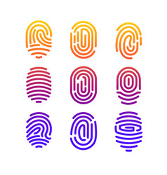 different shape fingerprint vector image