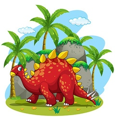Dinosaur walking in the field vector
