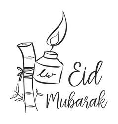 Eid mubarak theme hand draw vector