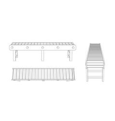 Empty conveyor belt outline vector