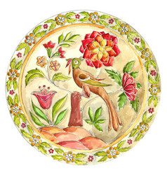 Fabulous bird decorative plate in gzhel style vector