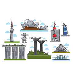 famous modern futuristic landmarks isolated vector image