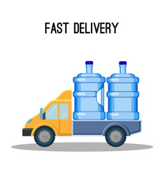 Fast delivery promo poster with trunk that carries vector