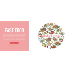 fast food web banner fast vector image