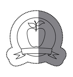 figure emblem long apple fruit icon vector image