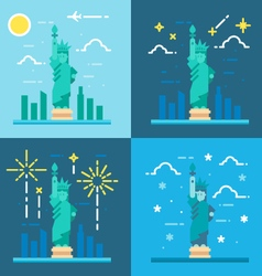 Flat design 4 styles of statue of liberty vector