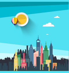 flat design city with skyscrapers urban landscape vector image