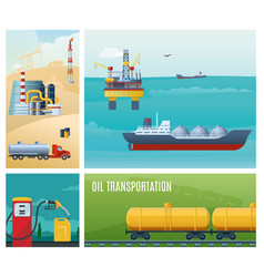 flat oil industry colorful composition vector image