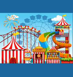 fun amusement park template vector image