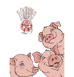 funny pigs and a wish for a happy new year vector image