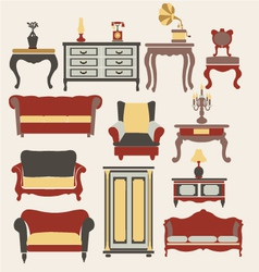 Furniture in vintage style vector image