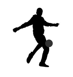 goalkeeper beats the ball with his foot silhouette vector image