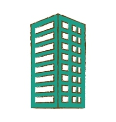 Green building line sticker image vector