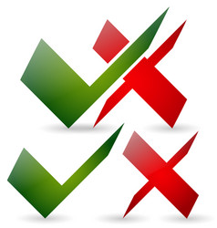Green checkmark and red cross set vector