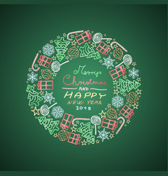 green christmas circular decoration with motifs vector image
