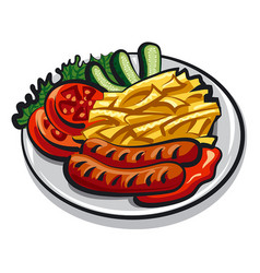 Grilled sausages vector