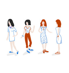 group of fashionable girls standing doodle style vector image