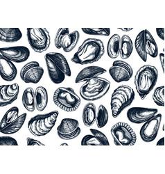hand drawn edible marine mollusks seamless vector image