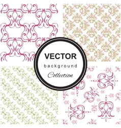 Hand drawn flower seamless pattern collection vector