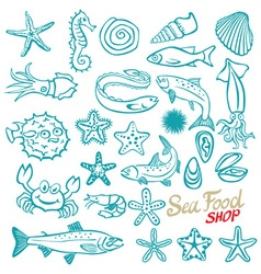 hand drawn seafood shop Vintage vector image