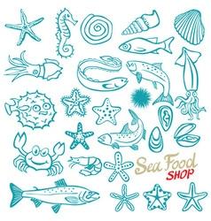 Hand drawn seafood shop Vintage vector