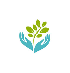 Hands holding plant logo environment nature vector