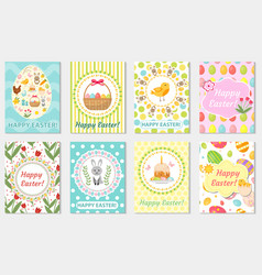 happy easter greeting card collection flyer vector image