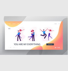 Happy loving couples sparetime website landing vector