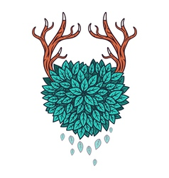 Heart of leaves with horns vector