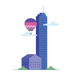 Hot air balloon with house and city building vector
