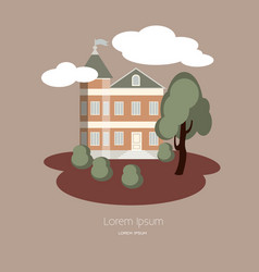 house with clouds and trees made in style vector image