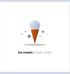 ice cream cone one white ball cool refreshing vector image