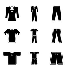 icons of clothes for sports recreation and work vector image