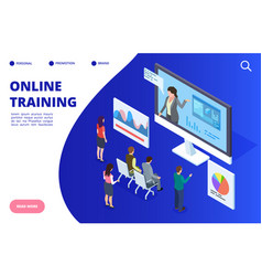 isometric online video training webinar vector image