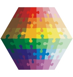 Jigsaw puzzle shape of a polygon colors rainbow vector image