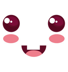 Kawaii face emoticon character vector