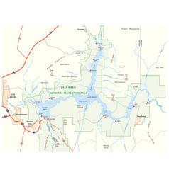 Lake mead map nevada arizona united states vector