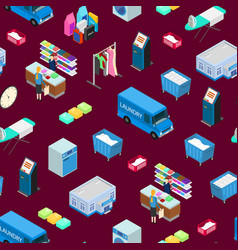 laundry seamless pattern background 3d isometric vector image
