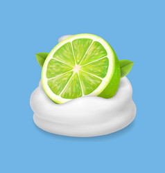 Lime slice in yogurt or whipped cream splash vector