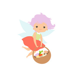 little forest fairy flying with basket full of vector image