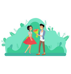 Man giving girl flower bouquet couple dating vector