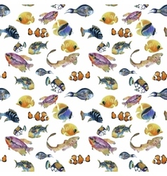 Marine life watercolor seamless pattern with vector