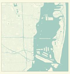 Miami florida us city map in retro style outline vector