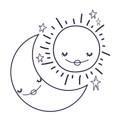 moon and sun cartoons in black and white vector image