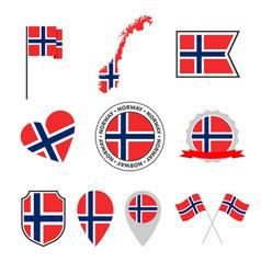 norway flag icons set national flag kingdom of vector image