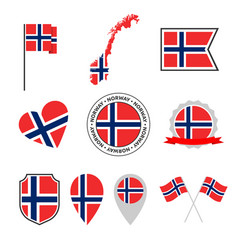 norway flag icons set national flag kingdom vector image