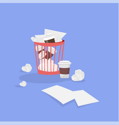office plastic trash can with crumpled papers vector image