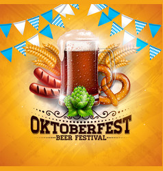 Oktoberfest banner with fresh beer vector