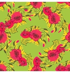 Pattern of poppy flowers on green background vector image