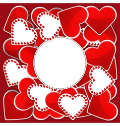 Pattern with white and red hearts vector image